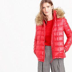 Short quilted puffer jacket with faux-fur hood