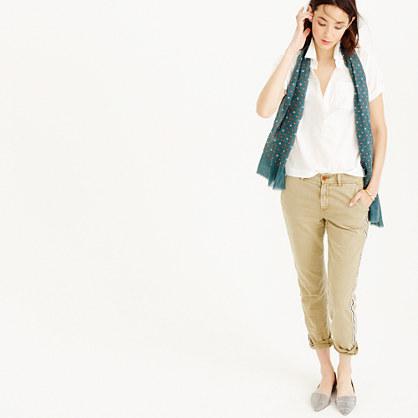 Short-sleeve cropped white popover shirt