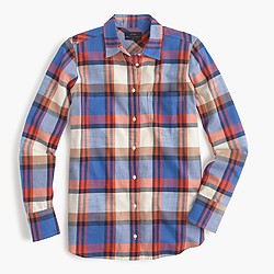 Petite boy shirt in blue pacey plaid