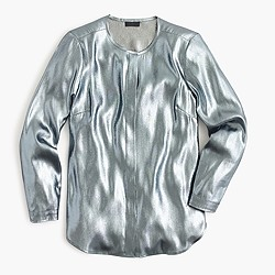 Collection collarless top in metallic lamé