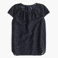Cap-sleeve floral lace top