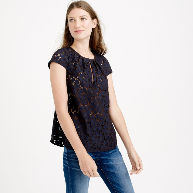 Tall cap-sleeve floral lace top