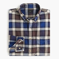 Slim vintage oxford shirt in stone plaid