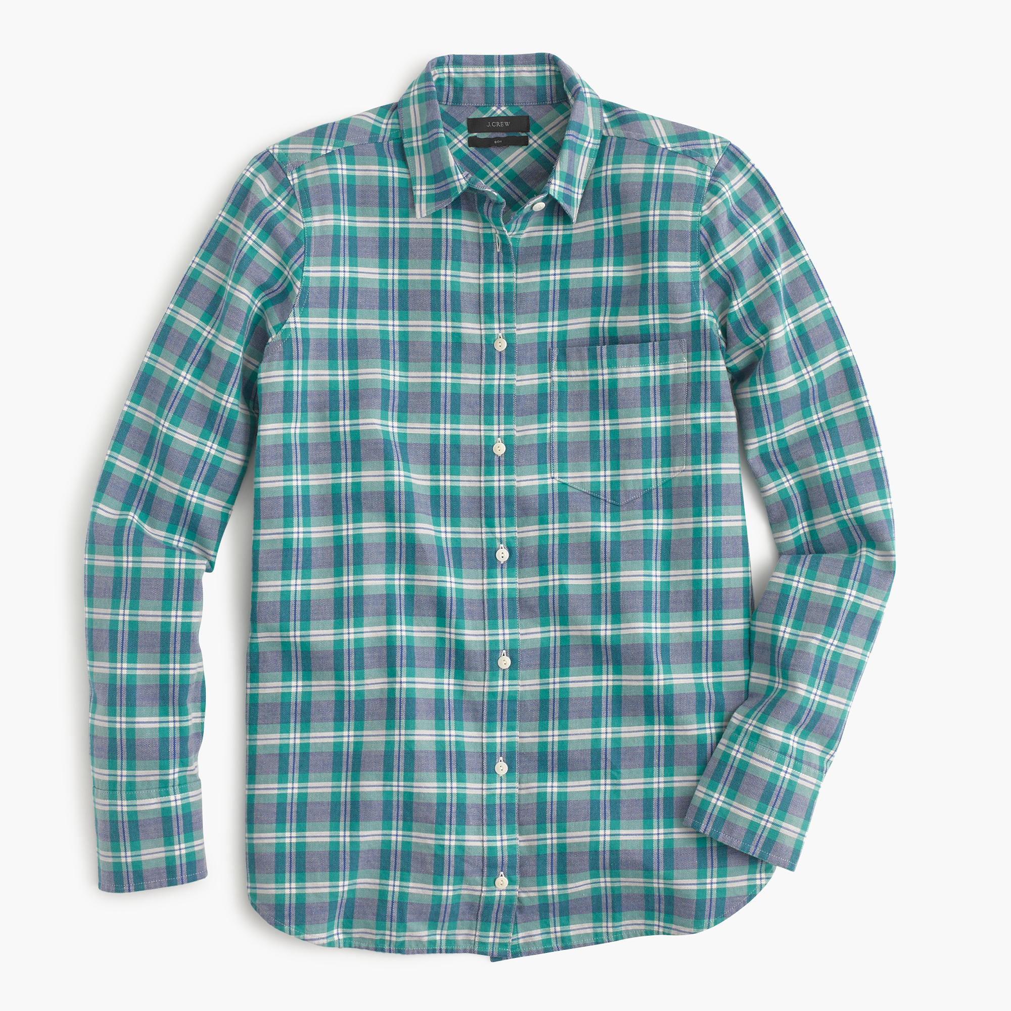 Boy shirt in green and blue plaid j crew for Blue and green tartan shirt
