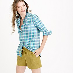Petite boy shirt in green and blue plaid