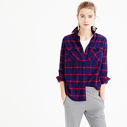 Petite boyfriend shirt in navy rockport plaid