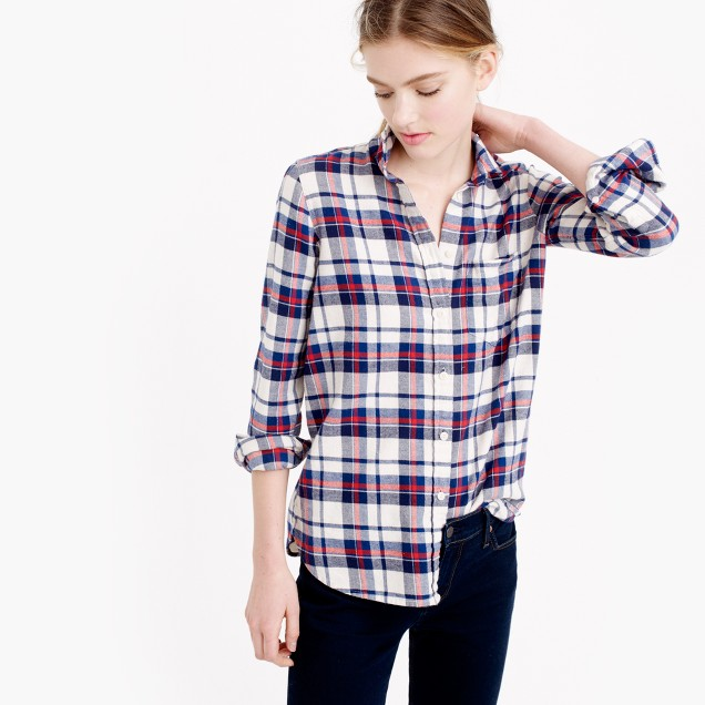 Petite boy shirt in Clinton plaid
