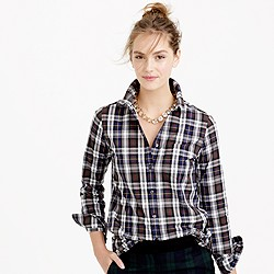 Petite shrunken boy shirt in forest plaid
