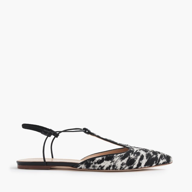 Collection calf hair T-strap flats