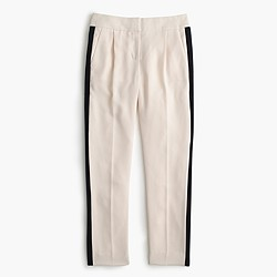 Pleated crepe trouser with tux stripe