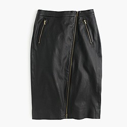 Collection leather motorcycle pencil skirt