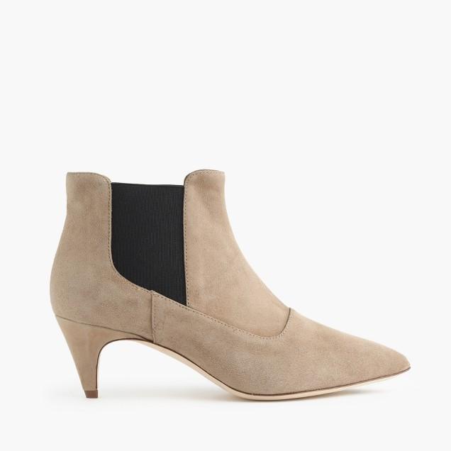 Suede kitten-heel Chelsea boots