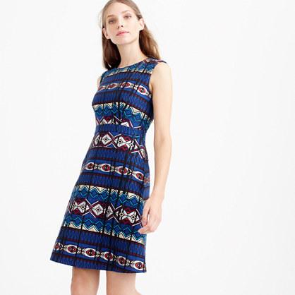 Textured windowpane jacquard dress