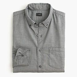Slim brushed twill shirt in glen plaid