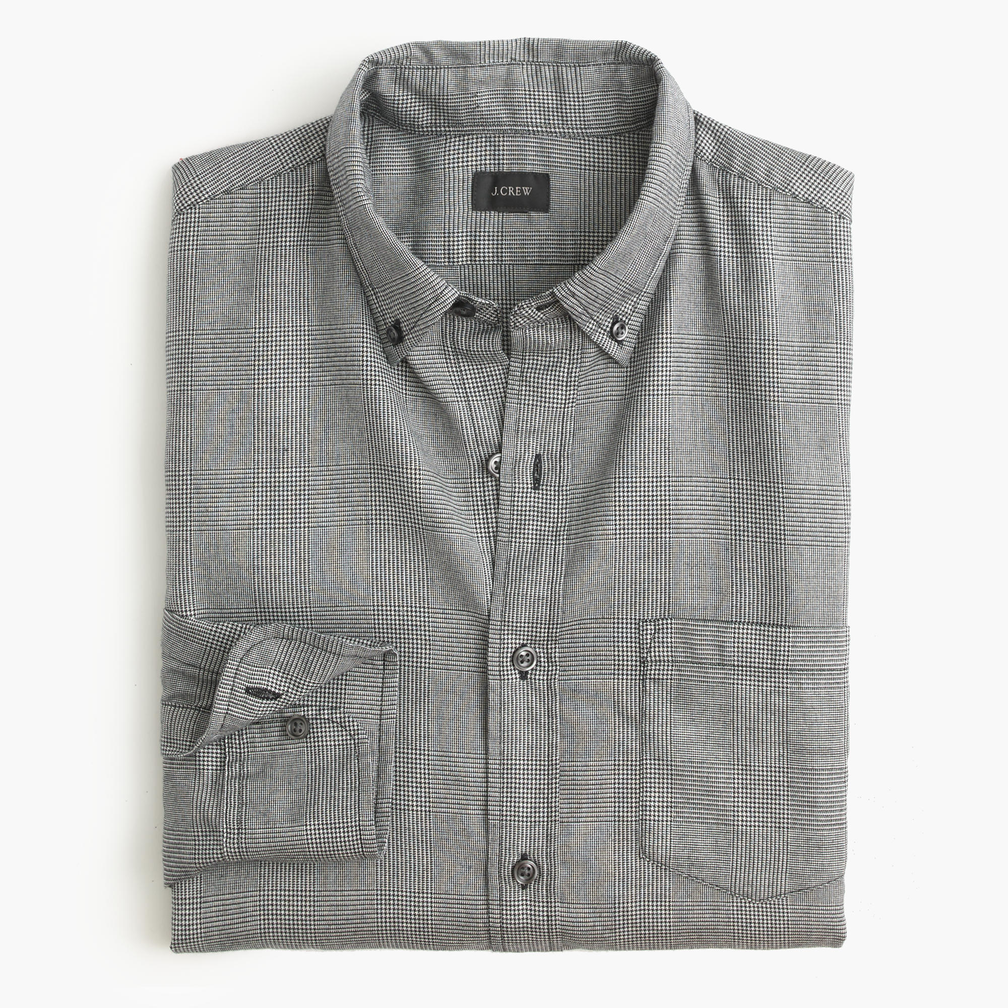 Brushed Twill Shirt In Glen Plaid J Crew