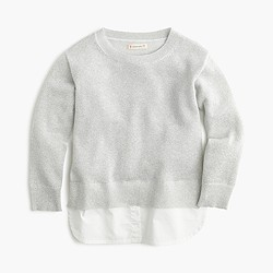 Girls' sparkly popover sweater with shirttail