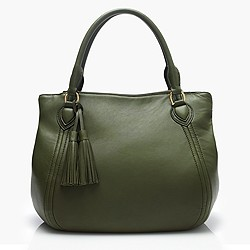 Large Peyton smooth leather satchel