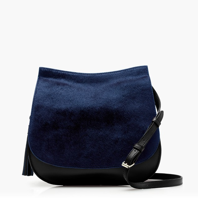 Leather calf hair saddlebag