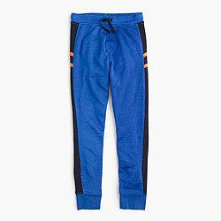 Boys' slim slouchy striped sweatpant