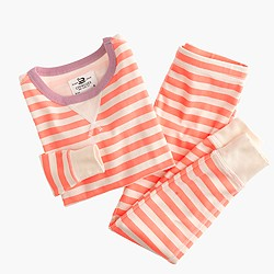 Girls' pajama set in contrasting stripes