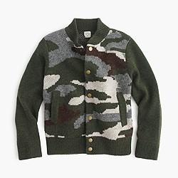 Boys' wool bomber sweater in camo