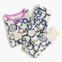Girls' glow-in-the-dark over the moon pajama set