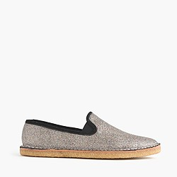 Glitter crepe loafers