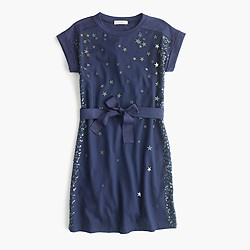 Girls' celestial sequin T-shirt dress with bow