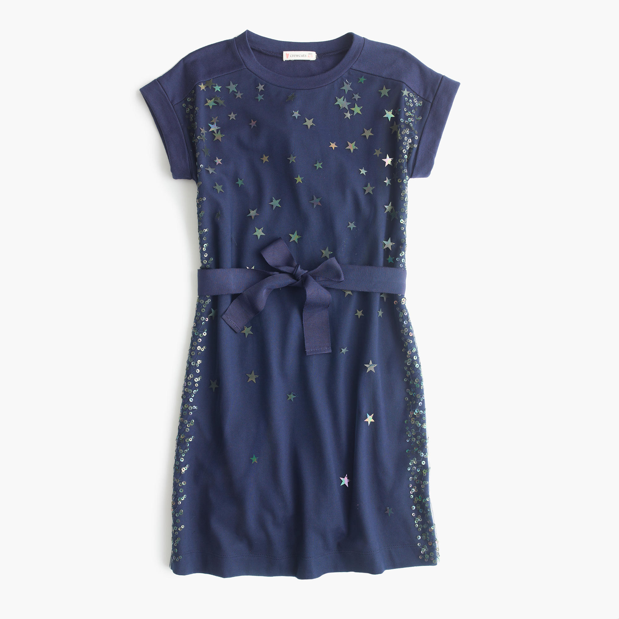 Girls 39 celestial sequin t shirt dress with bow j crew for Girls sequin t shirt
