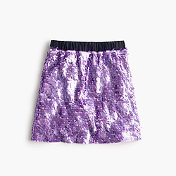 Girls' pull-on sequin skirt
