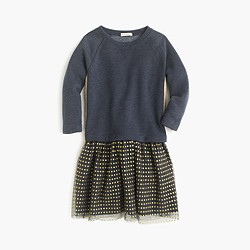 Girls' knit dress with tulle hem