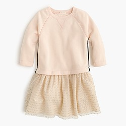 Girls' knit dress with tulle hem