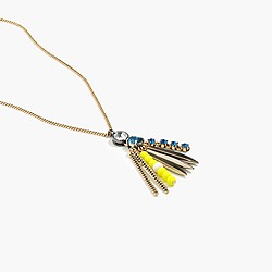 Mixed fringe pendant necklace