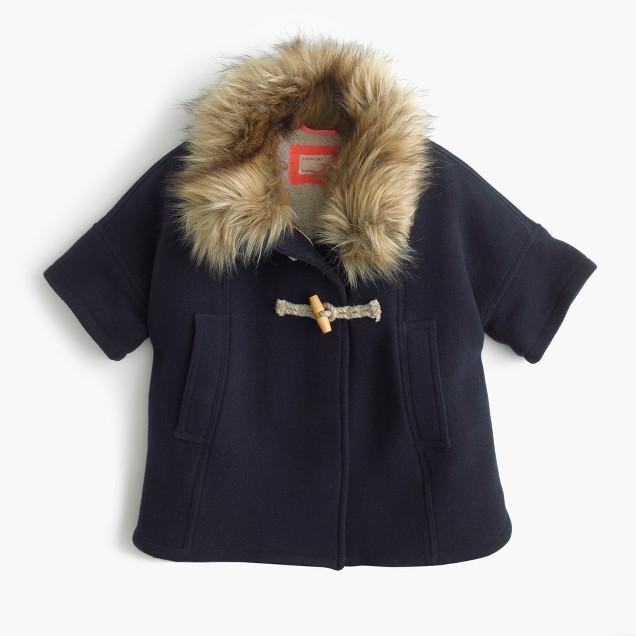 Girls' sherpa-lined cape