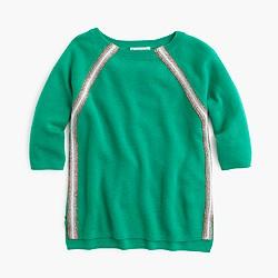 Girls' merino wool sparkle-striped sweater