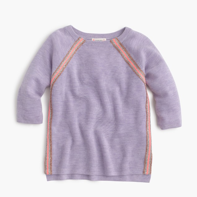 Girls' merino wool sparkle-striped sweater