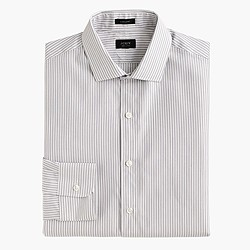 Ludlow shirt in charcoal-striped end-on-end cotton