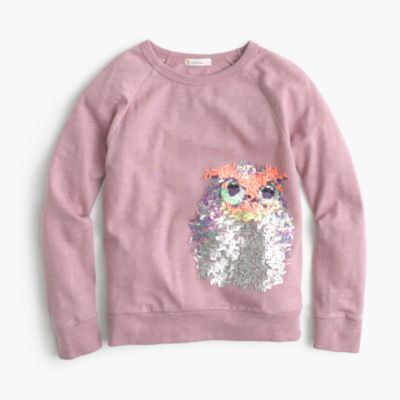 Girls Long Sleeve Sequin Owl Shirt Crew