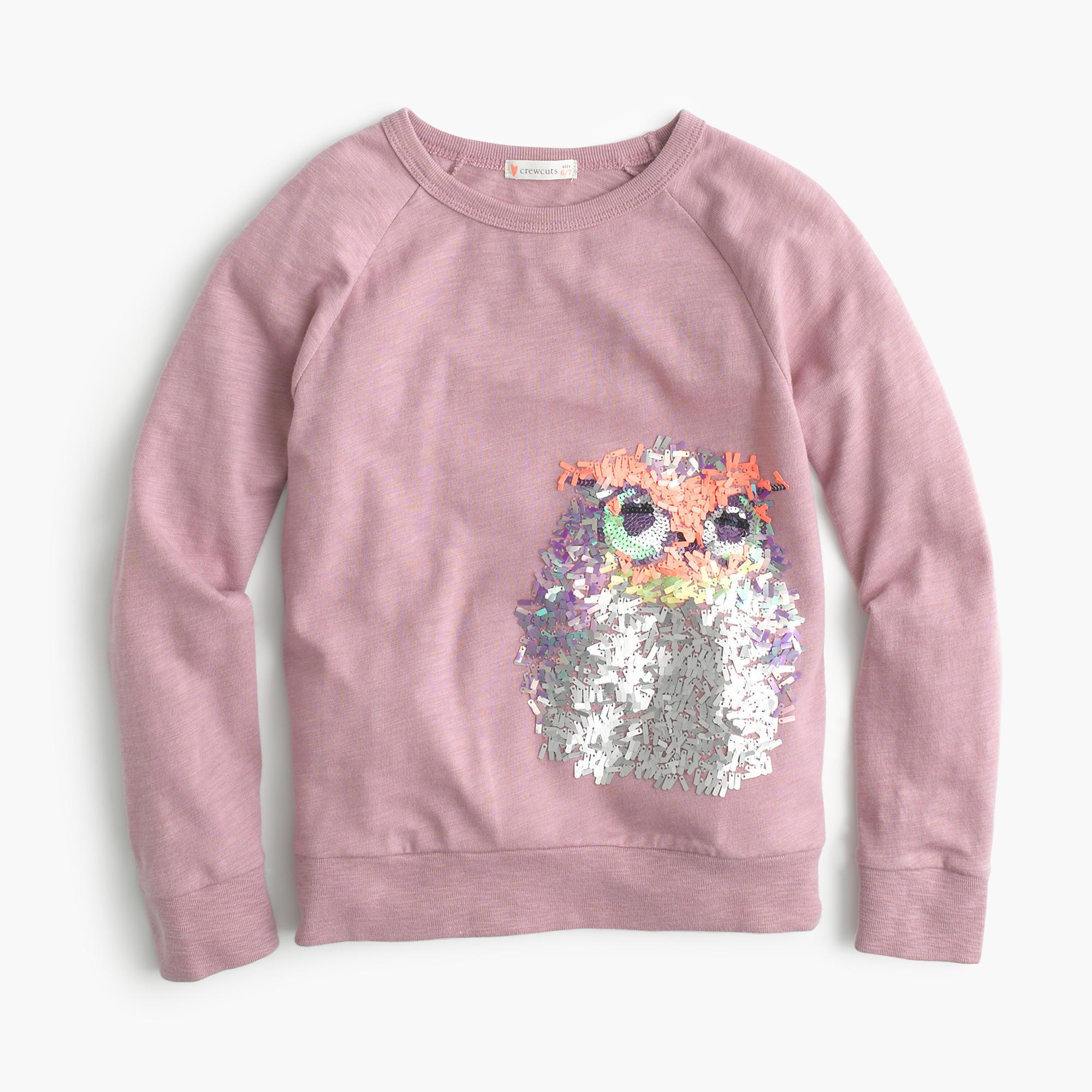 Girls 39 Long Sleeve Sequin Owl T Shirt J Crew