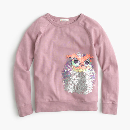 Girls 39 long sleeve sequin owl t shirt collectible t for Girls sequin t shirt