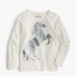 Girls' long-sleeve foil horse T-shirt
