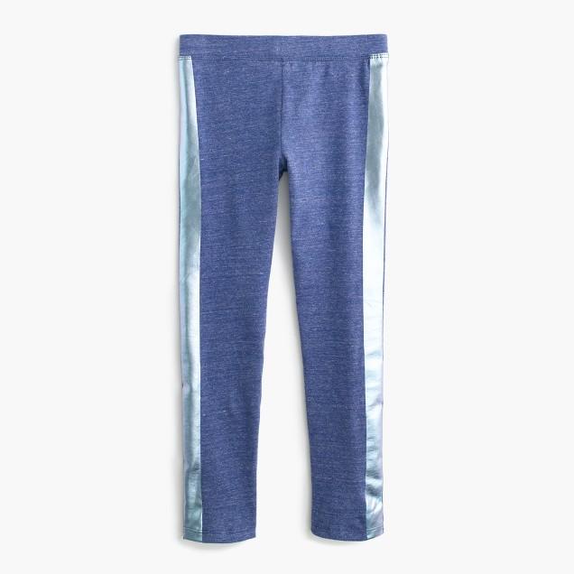 Girls' everyday leggings in foil tux stripe