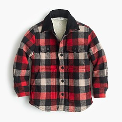 Boys' sherpa-lined shirt-jacket in buffalo check