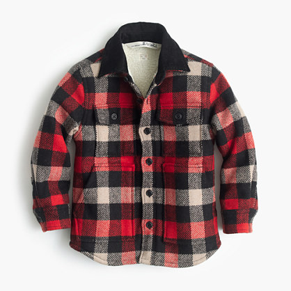 Boys' sherpa-lined shirt-jacket in buffalo check