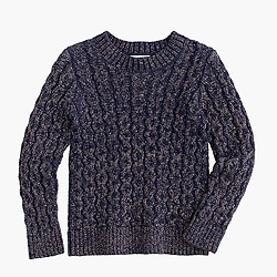 Girls' sparkle cable-knit popover sweater