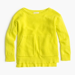 Girls' neon wool popover sweater
