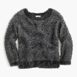 Girls' fuzzy wool-blend popover sweater