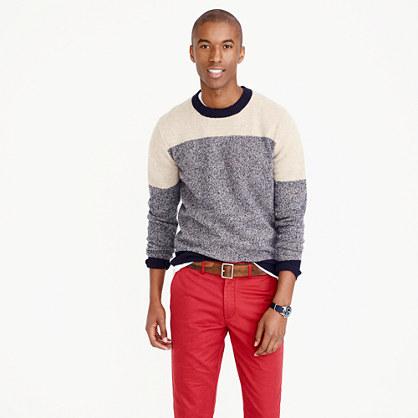 Lambswool sweater in varsity colorblock