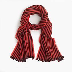 Striped fringe scarf