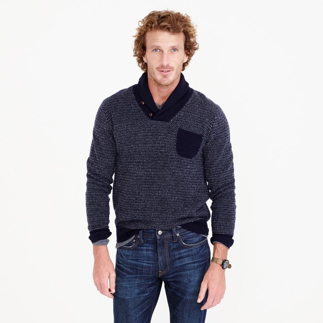 Lambswool jacquard shawl-collar sweater